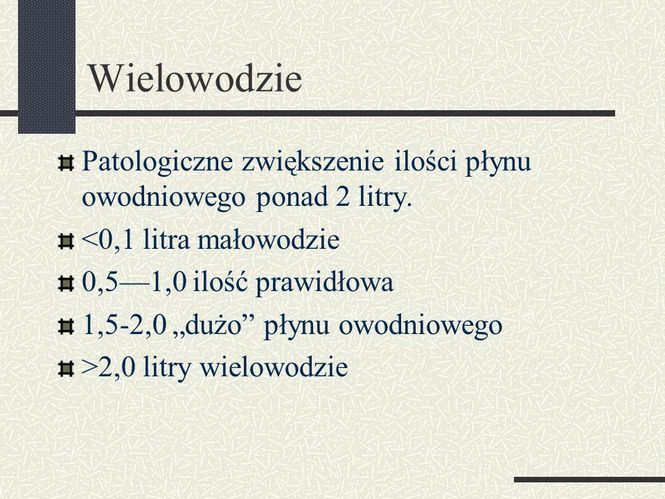 Wielowodzie Patologiczne zwiększenie ilości płynu owodniowego ponad 2 litry.