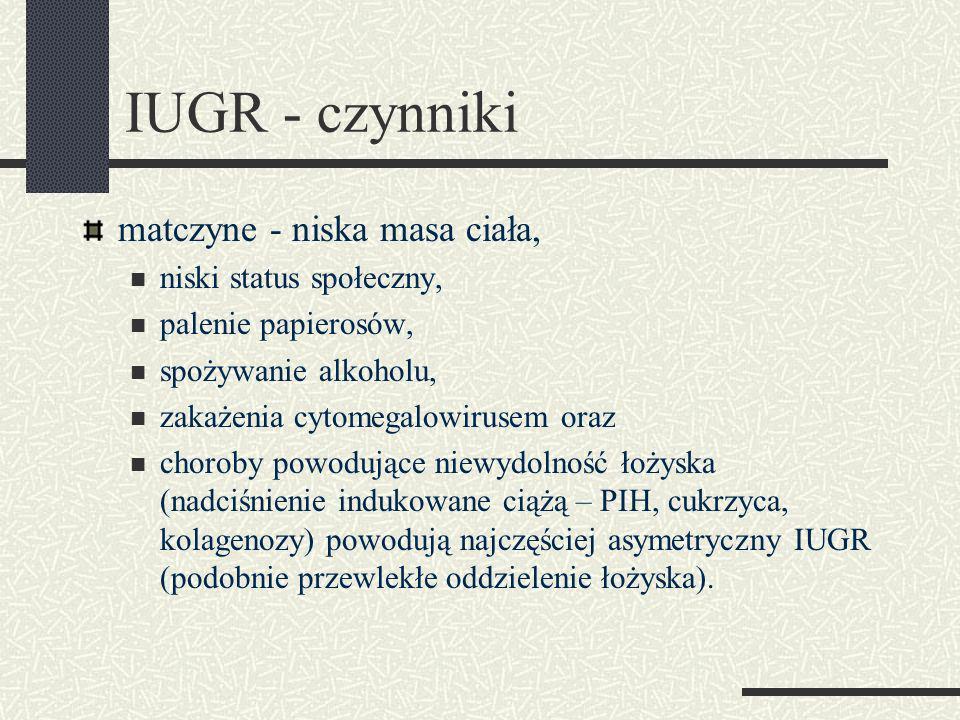 matczyne - niska masa ciała, niski status społeczny, palenie papierosów, spożywanie alkoholu, zakażenia cytomegalowirusem oraz choroby powodujące niewydolność łożyska (nadciśnienie indukowane ciążą – PIH, cukrzyca, kolagenozy) powodują najczęściej asymetryczny IUGR (podobnie przewlekłe oddzielenie łożyska).
