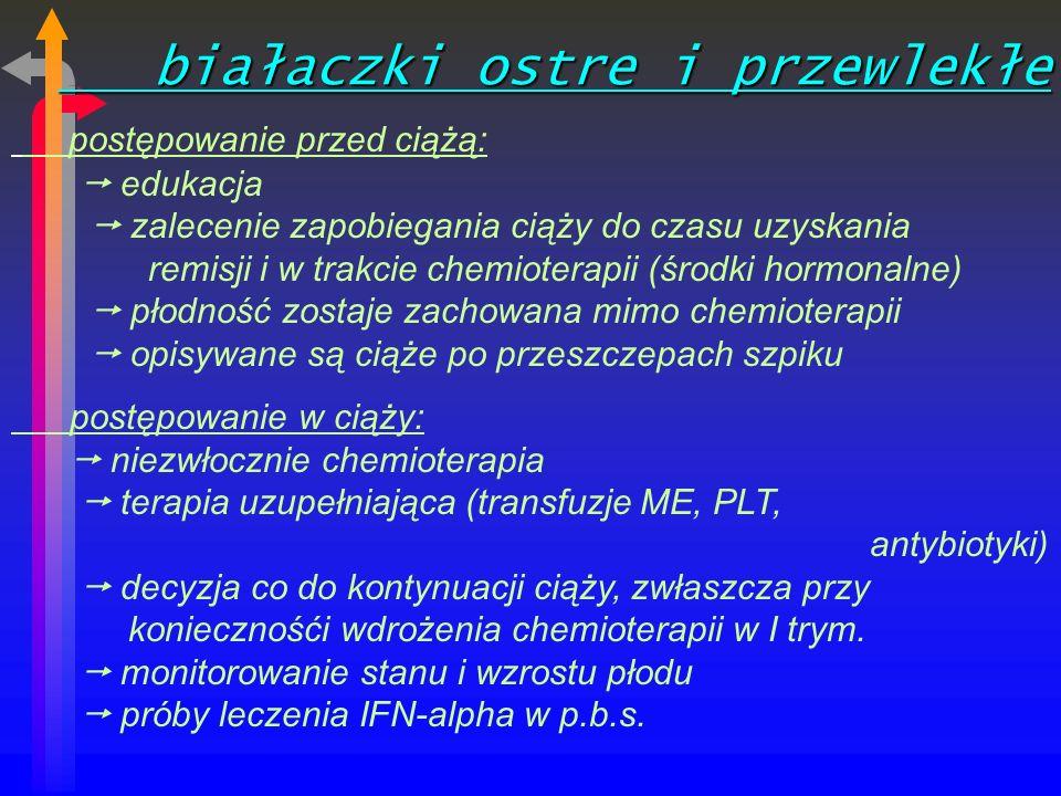 białaczki ostre i przewlekłe białaczki ostre i przewlekłe postępowanie przed ciążą: edukacja zalecenie zapobiegania ciąży do czasu uzyskania remisji i w trakcie chemioterapii (środki hormonalne) płodność zostaje zachowana mimo chemioterapii opisywane są ciąże po przeszczepach szpiku postępowanie w ciąży: niezwłocznie chemioterapia terapia uzupełniająca (transfuzje ME, PLT, antybiotyki) decyzja co do kontynuacji ciąży, zwłaszcza przy koniecznośći wdrożenia chemioterapii w I trym.