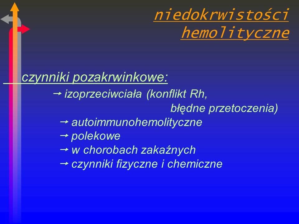 niedokrwistości hemolityczne czynniki pozakrwinkowe: izoprzeciwciała (konflikt Rh, błędne przetoczenia) autoimmunohemolityczne polekowe w chorobach zakaźnych czynniki fizyczne i chemiczne