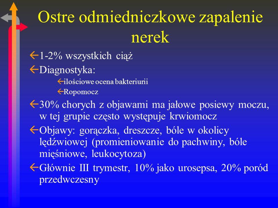 Ostre odmiedniczkowe zapalenie nerek ß1-2% wszystkich ciąż ßDiagnostyka: ßilościowe ocena bakteriurii ßRopomocz ß30% chorych z objawami ma jałowe posiewy moczu, w tej grupie często występuje krwiomocz ßObjawy: gorączka, dreszcze, bóle w okolicy lędźwiowej (promieniowanie do pachwiny, bóle mięśniowe, leukocytoza) ßGłównie III trymestr, 10% jako urosepsa, 20% poród przedwczesny