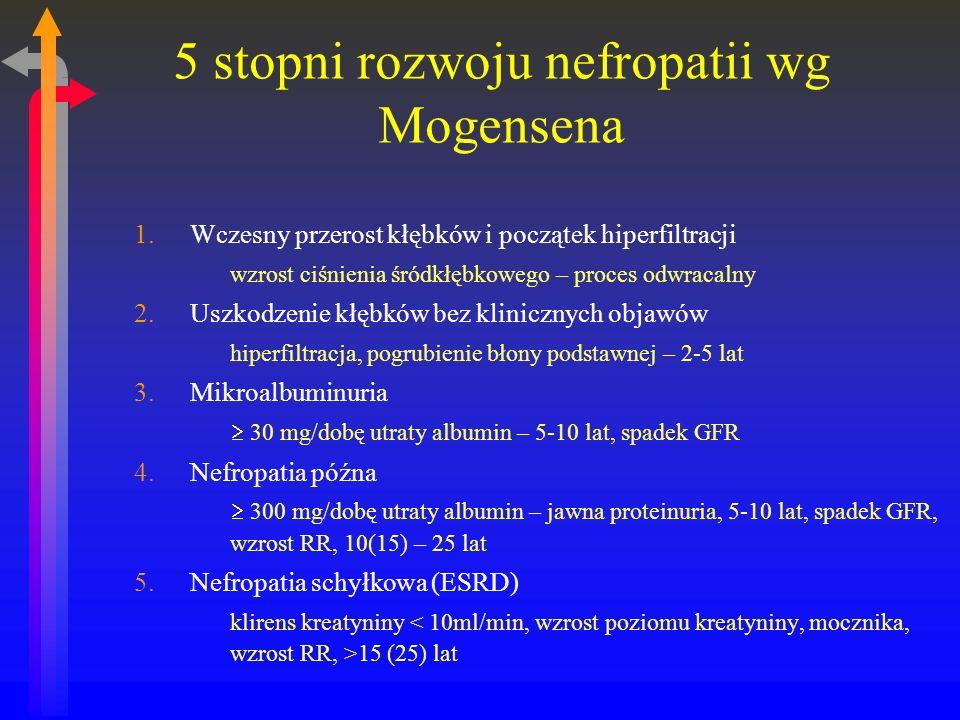5 stopni rozwoju nefropatii wg Mogensena 1.Wczesny przerost kłębków i początek hiperfiltracji wzrost ciśnienia śródkłębkowego – proces odwracalny 2.Uszkodzenie kłębków bez klinicznych objawów hiperfiltracja, pogrubienie błony podstawnej – 2-5 lat 3.Mikroalbuminuria 30 mg/dobę utraty albumin – 5-10 lat, spadek GFR 4.Nefropatia późna 300 mg/dobę utraty albumin – jawna proteinuria, 5-10 lat, spadek GFR, wzrost RR, 10(15) – 25 lat 5.Nefropatia schyłkowa (ESRD) klirens kreatyniny 15 (25) lat