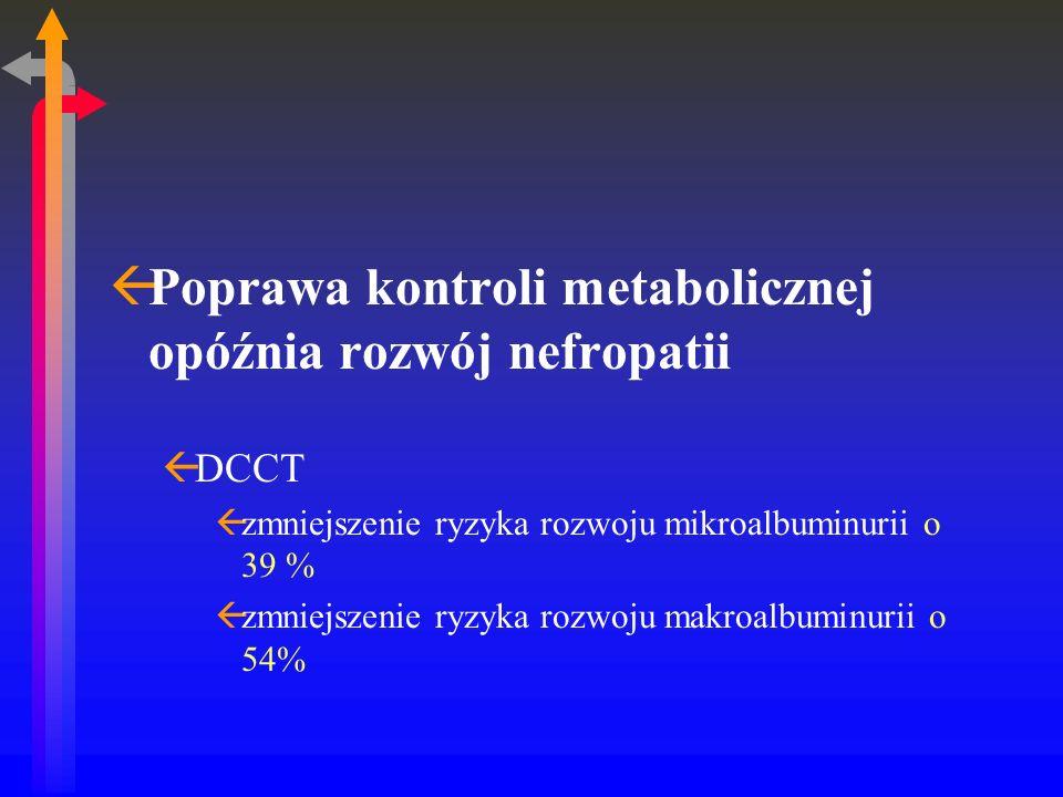 ßPoprawa kontroli metabolicznej opóźnia rozwój nefropatii ßDCCT ßzmniejszenie ryzyka rozwoju mikroalbuminurii o 39 % ßzmniejszenie ryzyka rozwoju makroalbuminurii o 54%