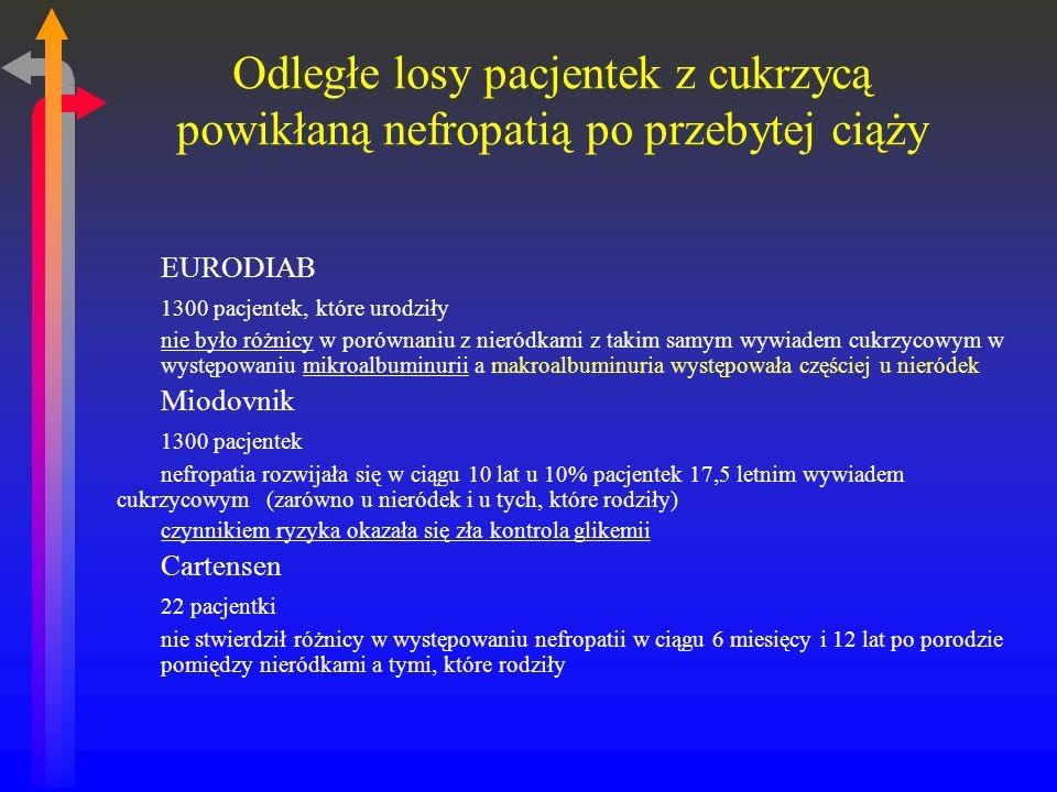 Odległe losy pacjentek z cukrzycą powikłaną nefropatią po przebytej ciąży EURODIAB 1300 pacjentek, które urodziły nie było różnicy w porównaniu z nieródkami z takim samym wywiadem cukrzycowym w występowaniu mikroalbuminurii a makroalbuminuria występowała częściej u nieródek Miodovnik 1300 pacjentek nefropatia rozwijała się w ciągu 10 lat u 10% pacjentek 17,5 letnim wywiadem cukrzycowym (zarówno u nieródek i u tych, które rodziły) czynnikiem ryzyka okazała się zła kontrola glikemii Cartensen 22 pacjentki nie stwierdził różnicy w występowaniu nefropatii w ciągu 6 miesięcy i 12 lat po porodzie pomiędzy nieródkami a tymi, które rodziły