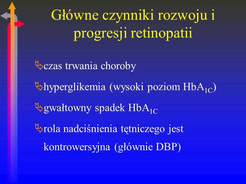 Główne czynniki rozwoju i progresji retinopatii czas trwania choroby hyperglikemia (wysoki poziom HbA 1C ) gwałtowny spadek HbA 1C rola nadciśnienia tętniczego jest kontrowersyjna (głównie DBP)