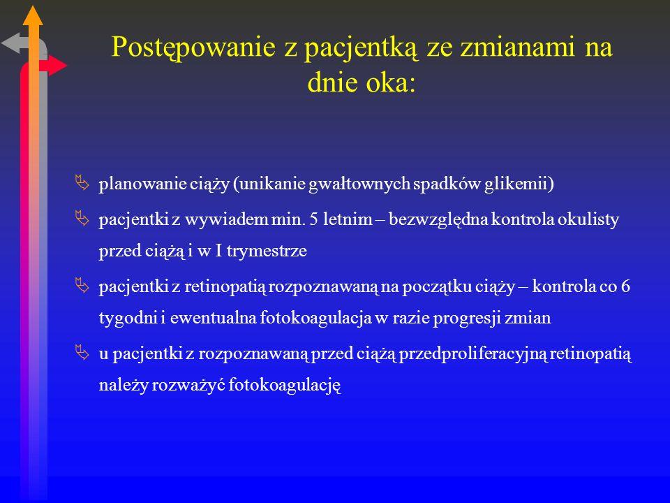 Postępowanie z pacjentką ze zmianami na dnie oka: planowanie ciąży (unikanie gwałtownych spadków glikemii) pacjentki z wywiadem min.
