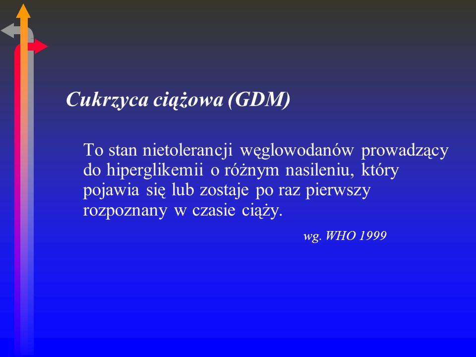 Cukrzyca ciążowa (GDM) To stan nietolerancji węglowodanów prowadzący do hiperglikemii o różnym nasileniu, który pojawia się lub zostaje po raz pierwszy rozpoznany w czasie ciąży.