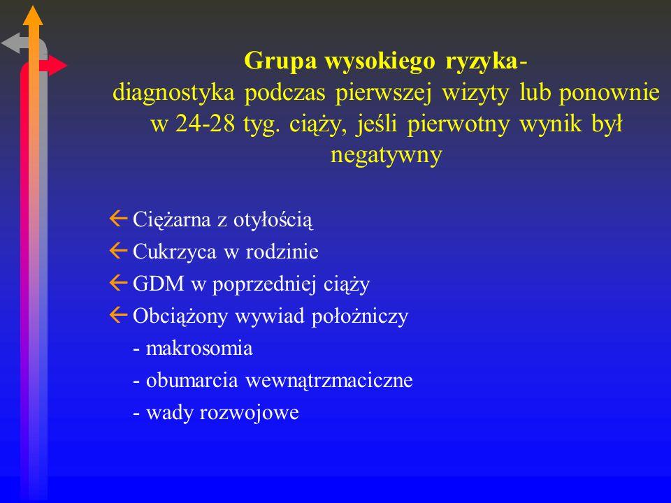 Grupa wysokiego ryzyka- diagnostyka podczas pierwszej wizyty lub ponownie w 24-28 tyg.