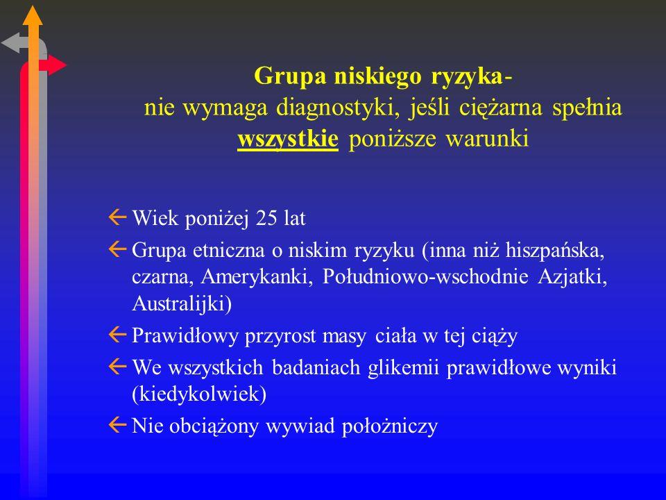 Grupa niskiego ryzyka- nie wymaga diagnostyki, jeśli ciężarna spełnia wszystkie poniższe warunki ßWiek poniżej 25 lat ßGrupa etniczna o niskim ryzyku (inna niż hiszpańska, czarna, Amerykanki, Południowo-wschodnie Azjatki, Australijki) ßPrawidłowy przyrost masy ciała w tej ciąży ßWe wszystkich badaniach glikemii prawidłowe wyniki (kiedykolwiek) ßNie obciążony wywiad położniczy