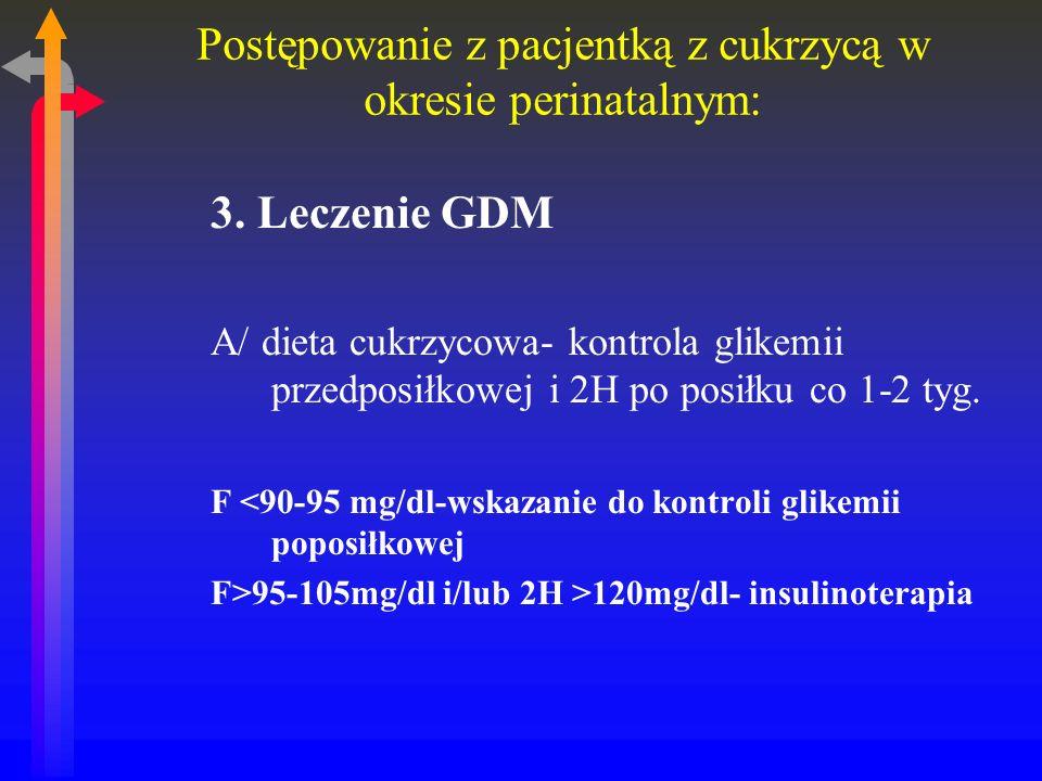 Postępowanie z pacjentką z cukrzycą w okresie perinatalnym: 3.
