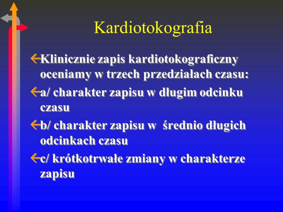 Kardiotokografia ßKlinicznie zapis kardiotokograficzny oceniamy w trzech przedziałach czasu: ßa/ charakter zapisu w długim odcinku czasu ßb/ charakter zapisu w średnio długich odcinkach czasu ßc/ krótkotrwałe zmiany w charakterze zapisu ßKlinicznie zapis kardiotokograficzny oceniamy w trzech przedziałach czasu: ßa/ charakter zapisu w długim odcinku czasu ßb/ charakter zapisu w średnio długich odcinkach czasu ßc/ krótkotrwałe zmiany w charakterze zapisu