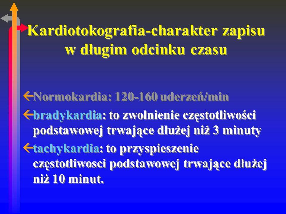 Kardiotokografia-charakter zapisu w długim odcinku czasu ßNormokardia: 120-160 uderzeń/min ßbradykardia: to zwolnienie częstotliwości podstawowej trwające dłużej niż 3 minuty ßtachykardia: to przyspieszenie częstotliwosci podstawowej trwające dłużej niż 10 minut.