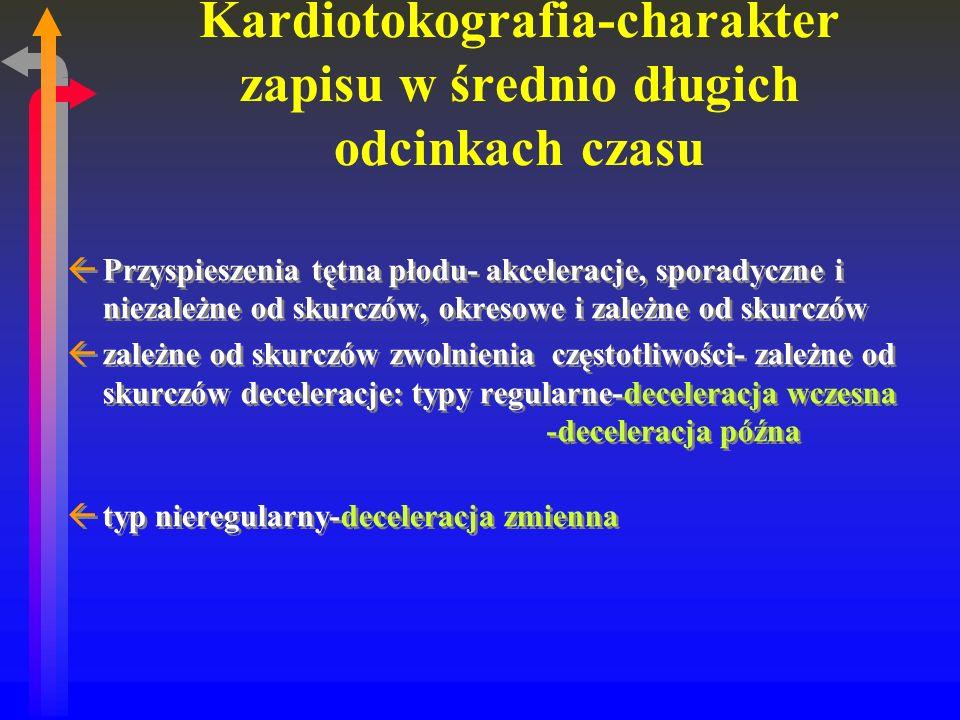 Kardiotokografia-charakter zapisu w średnio długich odcinkach czasu ßPrzyspieszenia tętna płodu- akceleracje, sporadyczne i niezależne od skurczów, okresowe i zależne od skurczów ßzależne od skurczów zwolnienia częstotliwości- zależne od skurczów deceleracje: typy regularne-deceleracja wczesna -deceleracja późna ßtyp nieregularny-deceleracja zmienna ßPrzyspieszenia tętna płodu- akceleracje, sporadyczne i niezależne od skurczów, okresowe i zależne od skurczów ßzależne od skurczów zwolnienia częstotliwości- zależne od skurczów deceleracje: typy regularne-deceleracja wczesna -deceleracja późna ßtyp nieregularny-deceleracja zmienna