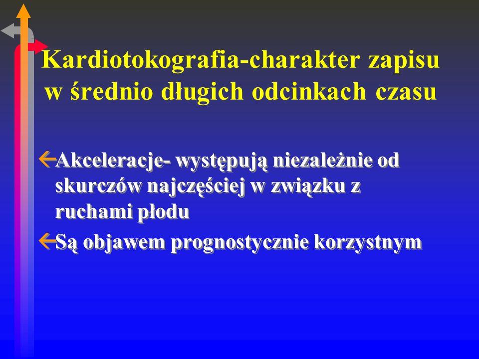 Kardiotokografia-charakter zapisu w średnio długich odcinkach czasu ßAkceleracje- występują niezależnie od skurczów najczęściej w związku z ruchami płodu ßSą objawem prognostycznie korzystnym ßAkceleracje- występują niezależnie od skurczów najczęściej w związku z ruchami płodu ßSą objawem prognostycznie korzystnym