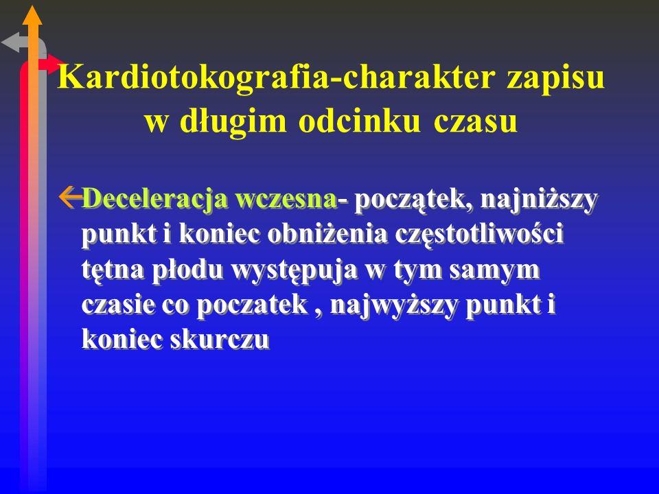 Kardiotokografia-charakter zapisu w długim odcinku czasu ßDeceleracja wczesna- początek, najniższy punkt i koniec obniżenia częstotliwości tętna płodu występuja w tym samym czasie co poczatek, najwyższy punkt i koniec skurczu