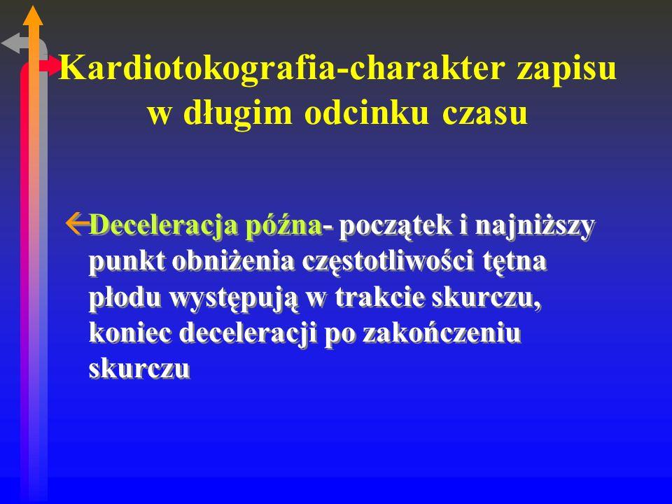 Kardiotokografia-charakter zapisu w długim odcinku czasu ßDeceleracja późna- początek i najniższy punkt obniżenia częstotliwości tętna płodu występują w trakcie skurczu, koniec deceleracji po zakończeniu skurczu