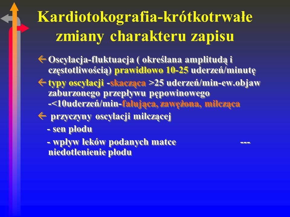 Kardiotokografia-krótkotrwałe zmiany charakteru zapisu ßOscylacja-fluktuacja ( określana amplitudą i częstotliwością) prawidłowo 10-25 uderzeń/minutę ßtypy oscylacji -skacząca >25 uderzeń/min-ew.objaw zaburzonego przepływu pępowinowego -<10uderzeń/min-falująca, zawężona, milcząca ß przyczyny oscylacji milczącej - sen płodu - wpływ leków podanych matce--- niedotlenienie płodu ßOscylacja-fluktuacja ( określana amplitudą i częstotliwością) prawidłowo 10-25 uderzeń/minutę ßtypy oscylacji -skacząca >25 uderzeń/min-ew.objaw zaburzonego przepływu pępowinowego -<10uderzeń/min-falująca, zawężona, milcząca ß przyczyny oscylacji milczącej - sen płodu - wpływ leków podanych matce--- niedotlenienie płodu