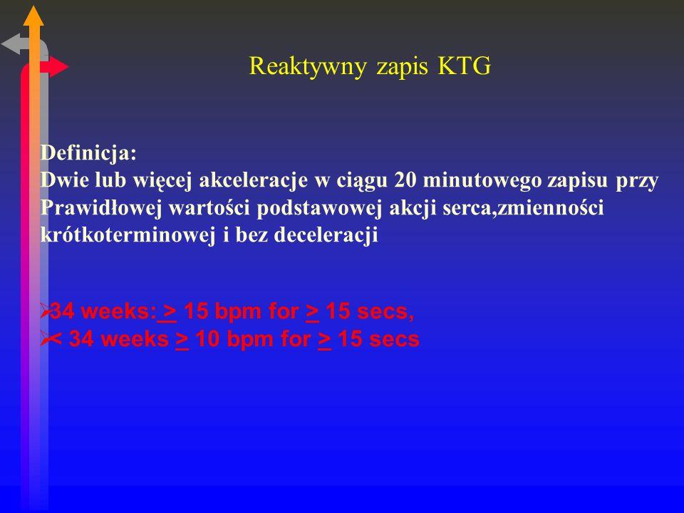 Reaktywny zapis KTG 34 weeks: > 15 bpm for > 15 secs, 10 bpm for > 15 secs Definicja: Dwie lub więcej akceleracje w ciągu 20 minutowego zapisu przy Prawidłowej wartości podstawowej akcji serca,zmienności krótkoterminowej i bez deceleracji