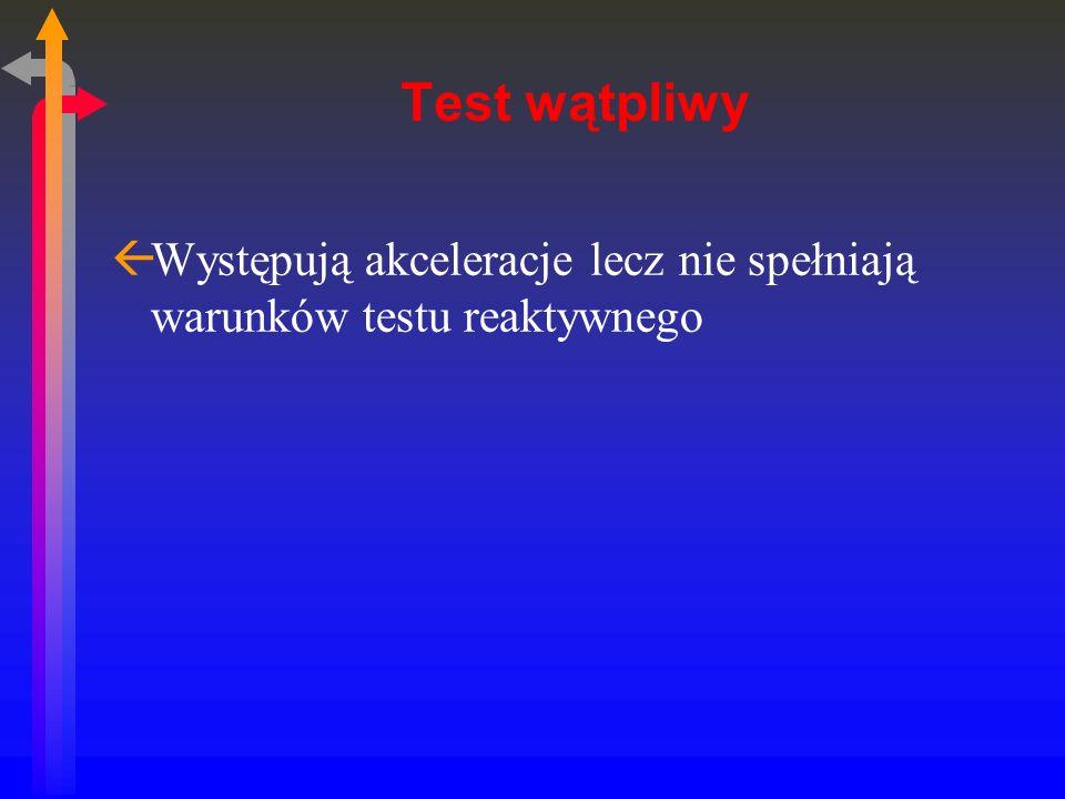 Test wątpliwy ßWystępują akceleracje lecz nie spełniają warunków testu reaktywnego