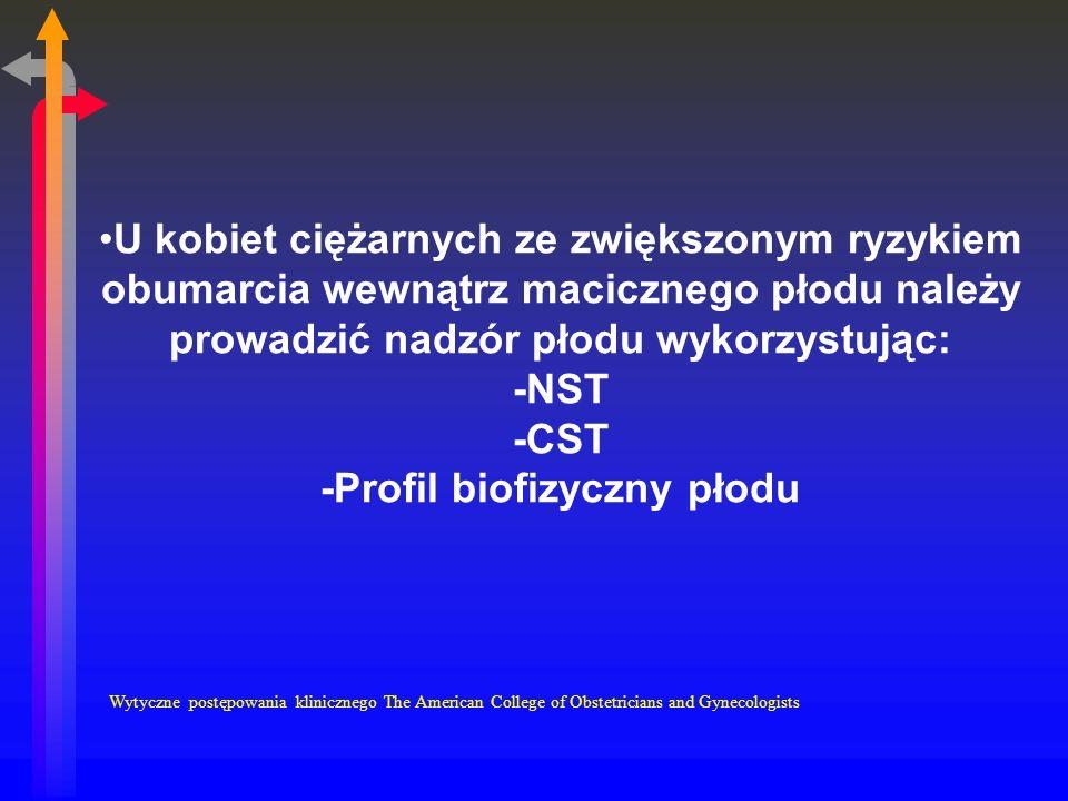 U kobiet ciężarnych ze zwiększonym ryzykiem obumarcia wewnątrz macicznego płodu należy prowadzić nadzór płodu wykorzystując: -NST -CST -Profil biofizyczny płodu Wytyczne postępowania klinicznego The American College of Obstetricians and Gynecologists