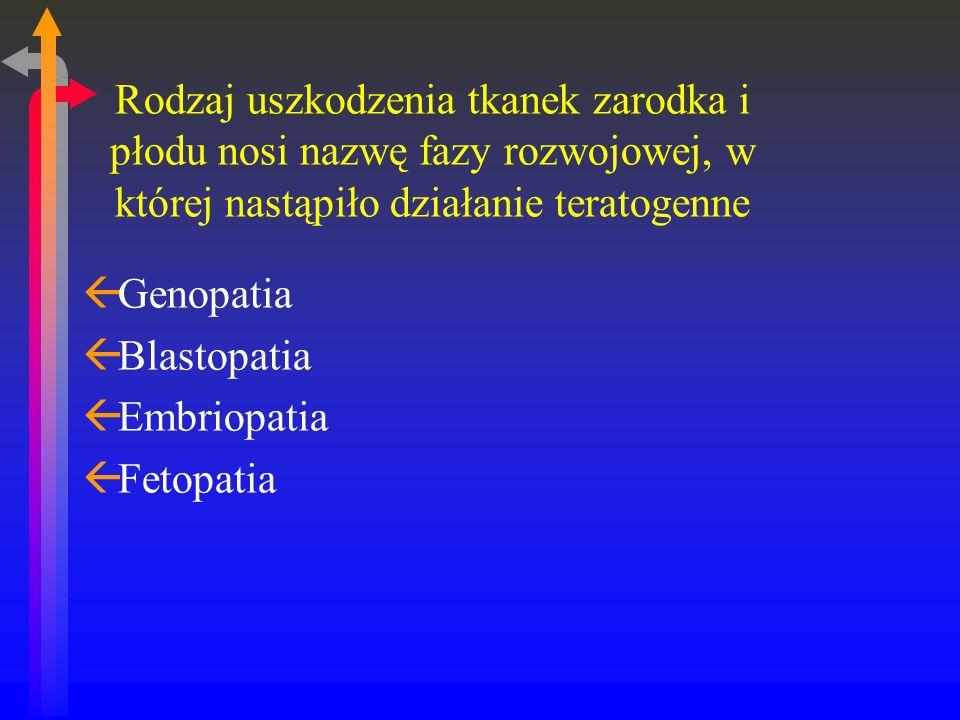 Rodzaj uszkodzenia tkanek zarodka i płodu nosi nazwę fazy rozwojowej, w której nastąpiło działanie teratogenne ßGenopatia ßBlastopatia ßEmbriopatia ßFetopatia
