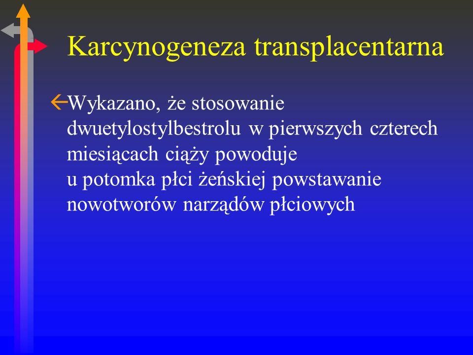 Karcynogeneza transplacentarna ßWykazano, że stosowanie dwuetylostylbestrolu w pierwszych czterech miesiącach ciąży powoduje u potomka płci żeńskiej powstawanie nowotworów narządów płciowych