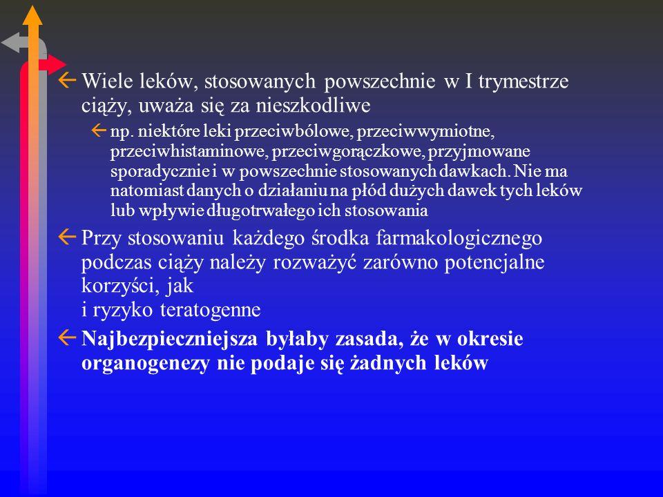 ßWiele leków, stosowanych powszechnie w I trymestrze ciąży, uważa się za nieszkodliwe ßnp.
