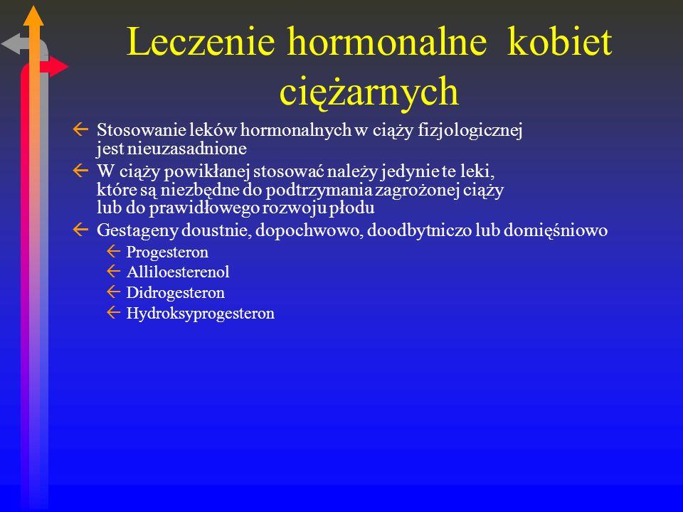 Leczenie hormonalne kobiet ciężarnych ßStosowanie leków hormonalnych w ciąży fizjologicznej jest nieuzasadnione ßW ciąży powikłanej stosować należy jedynie te leki, które są niezbędne do podtrzymania zagrożonej ciąży lub do prawidłowego rozwoju płodu ßGestageny doustnie, dopochwowo, doodbytniczo lub domięśniowo ßProgesteron ßAlliloesterenol ßDidrogesteron ßHydroksyprogesteron