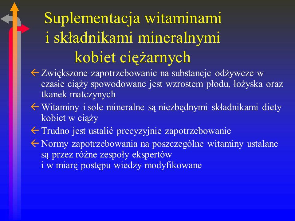 Suplementacja witaminami i składnikami mineralnymi kobiet ciężarnych ßZwiększone zapotrzebowanie na substancje odżywcze w czasie ciąży spowodowane jest wzrostem płodu, łożyska oraz tkanek matczynych ßWitaminy i sole mineralne są niezbędnymi składnikami diety kobiet w ciąży ßTrudno jest ustalić precyzyjnie zapotrzebowanie ßNormy zapotrzebowania na poszczególne witaminy ustalane są przez różne zespoły ekspertów i w miarę postępu wiedzy modyfikowane