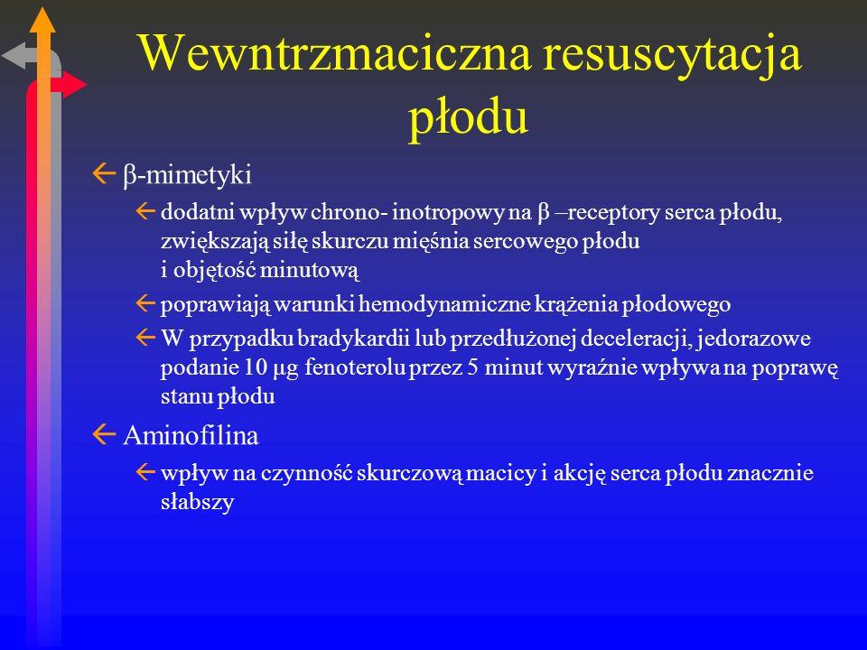 Wewntrzmaciczna resuscytacja płodu ßβ-mimetyki ßdodatni wpływ chrono- inotropowy na β –receptory serca płodu, zwiększają siłę skurczu mięśnia sercowego płodu i objętość minutową ßpoprawiają warunki hemodynamiczne krążenia płodowego ßW przypadku bradykardii lub przedłużonej deceleracji, jedorazowe podanie 10 μg fenoterolu przez 5 minut wyraźnie wpływa na poprawę stanu płodu ßAminofilina ßwpływ na czynność skurczową macicy i akcję serca płodu znacznie słabszy
