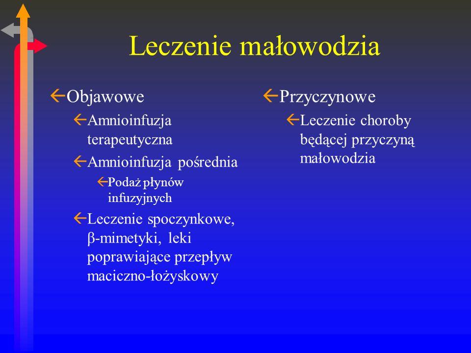 Leczenie małowodzia ßObjawowe ßAmnioinfuzja terapeutyczna ßAmnioinfuzja pośrednia ßPodaż płynów infuzyjnych ßLeczenie spoczynkowe, β-mimetyki, leki poprawiające przepływ maciczno-łożyskowy ßPrzyczynowe ßLeczenie choroby będącej przyczyną małowodzia