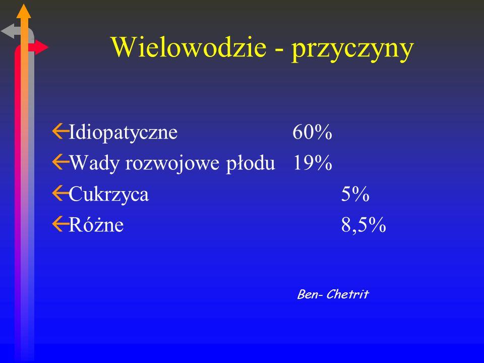 Wielowodzie - przyczyny ßIdiopatyczne 60% ßWady rozwojowe płodu 19% ßCukrzyca 5% ßRóżne 8,5% Ben- Chetrit