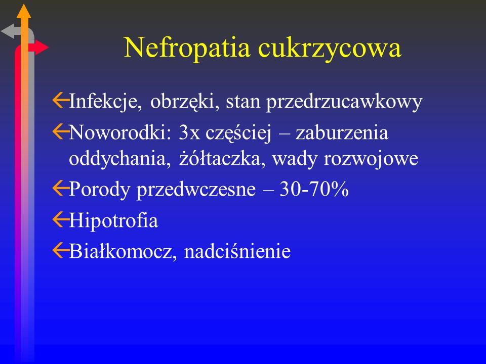 Nefropatia cukrzycowa ßInfekcje, obrzęki, stan przedrzucawkowy ßNoworodki: 3x częściej – zaburzenia oddychania, żółtaczka, wady rozwojowe ßPorody przedwczesne – 30-70% ßHipotrofia ßBiałkomocz, nadciśnienie
