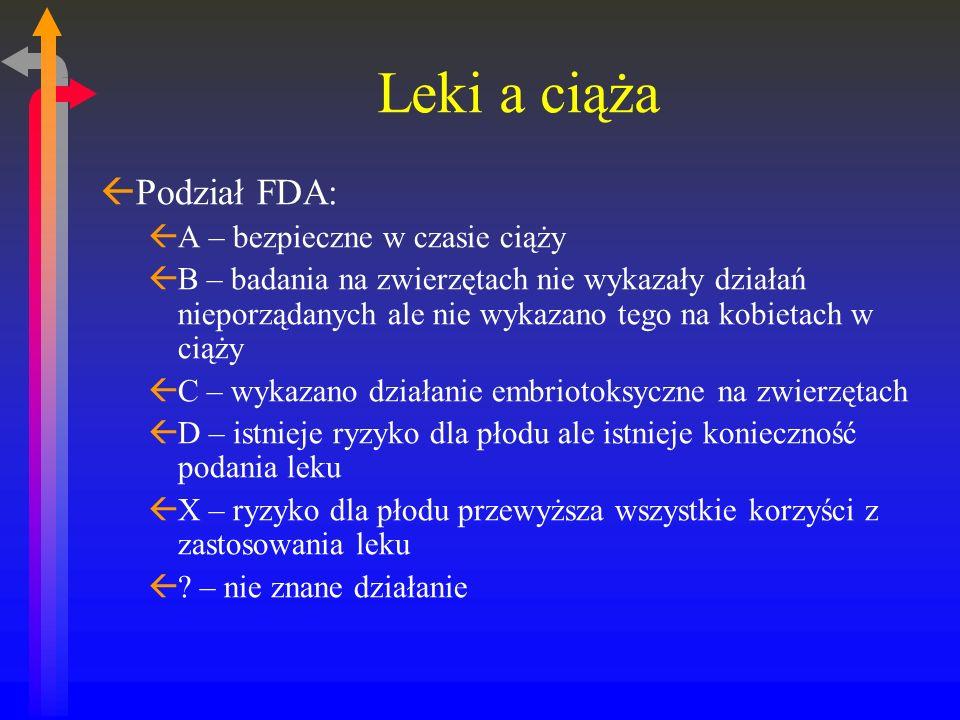 Leki a ciąża ßPodział FDA: ßA – bezpieczne w czasie ciąży ßB – badania na zwierzętach nie wykazały działań nieporządanych ale nie wykazano tego na kobietach w ciąży ßC – wykazano działanie embriotoksyczne na zwierzętach ßD – istnieje ryzyko dla płodu ale istnieje konieczność podania leku ßX – ryzyko dla płodu przewyższa wszystkie korzyści z zastosowania leku ß.