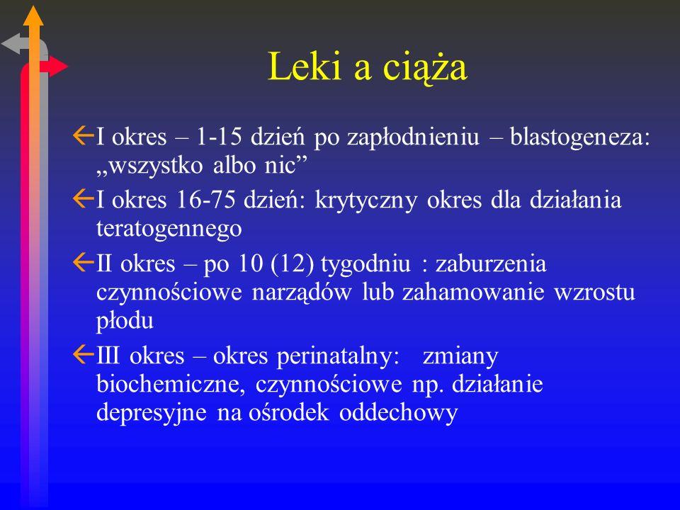 Leki a ciąża ßI okres – 1-15 dzień po zapłodnieniu – blastogeneza: wszystko albo nic ßI okres 16-75 dzień: krytyczny okres dla działania teratogennego ßII okres – po 10 (12) tygodniu : zaburzenia czynnościowe narządów lub zahamowanie wzrostu płodu ßIII okres – okres perinatalny: zmiany biochemiczne, czynnościowe np.