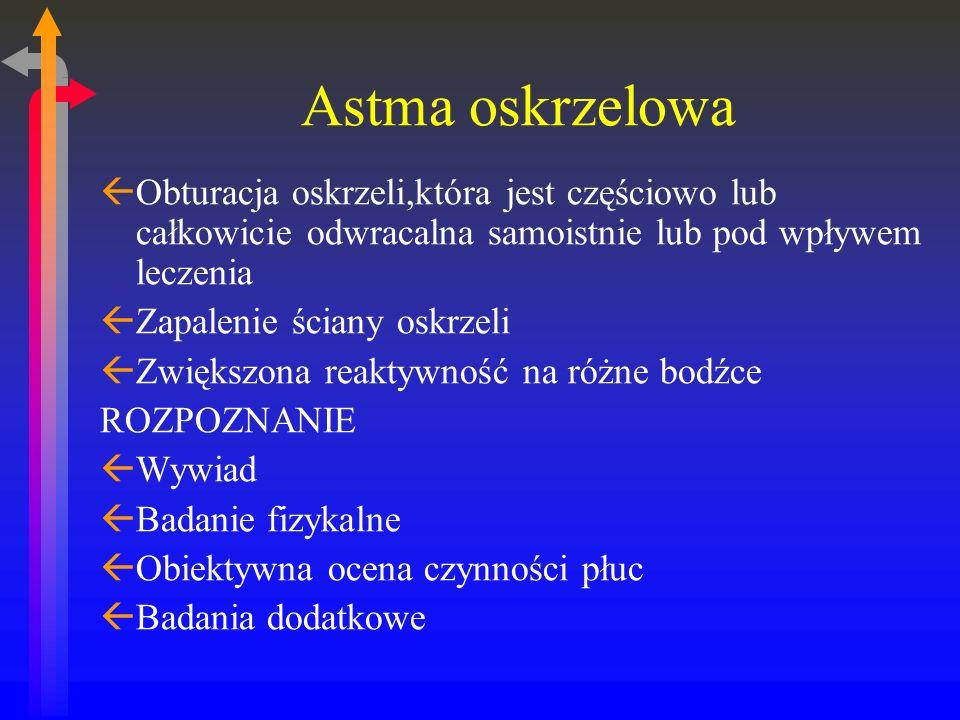 Astma oskrzelowa ßObturacja oskrzeli,która jest częściowo lub całkowicie odwracalna samoistnie lub pod wpływem leczenia ßZapalenie ściany oskrzeli ßZwiększona reaktywność na różne bodźce ROZPOZNANIE ßWywiad ßBadanie fizykalne ßObiektywna ocena czynności płuc ßBadania dodatkowe