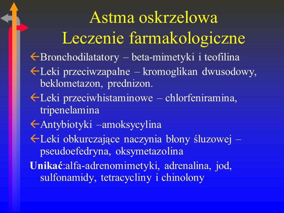 Astma oskrzelowa Leczenie farmakologiczne ßBronchodilatatory – beta-mimetyki i teofilina ßLeki przeciwzapalne – kromoglikan dwusodowy, beklometazon, prednizon.