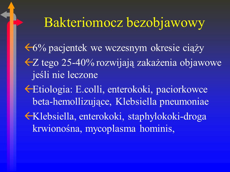 Escherichia colli jako patogen ß75-90% przypadków ßDrogi szerzenia: poprzez krocze z jelita grubego ßWłaściwości ułatwiające penetrację: ßPosiadanie fimbrii (przyleganie do nabłonka) ßOdporność na kwaśne środowisko pochwy ßSzybkie podziały w kwaśnym środowisku pochwy ßProdukcja substancji hamujących prawidłową perystaltykę moczowodów