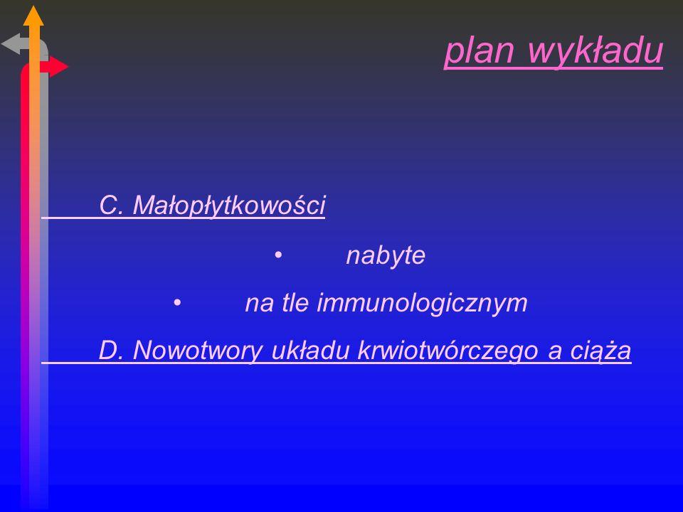 plan wykładu C.Małopłytkowości nabyte na tle immunologicznym D.