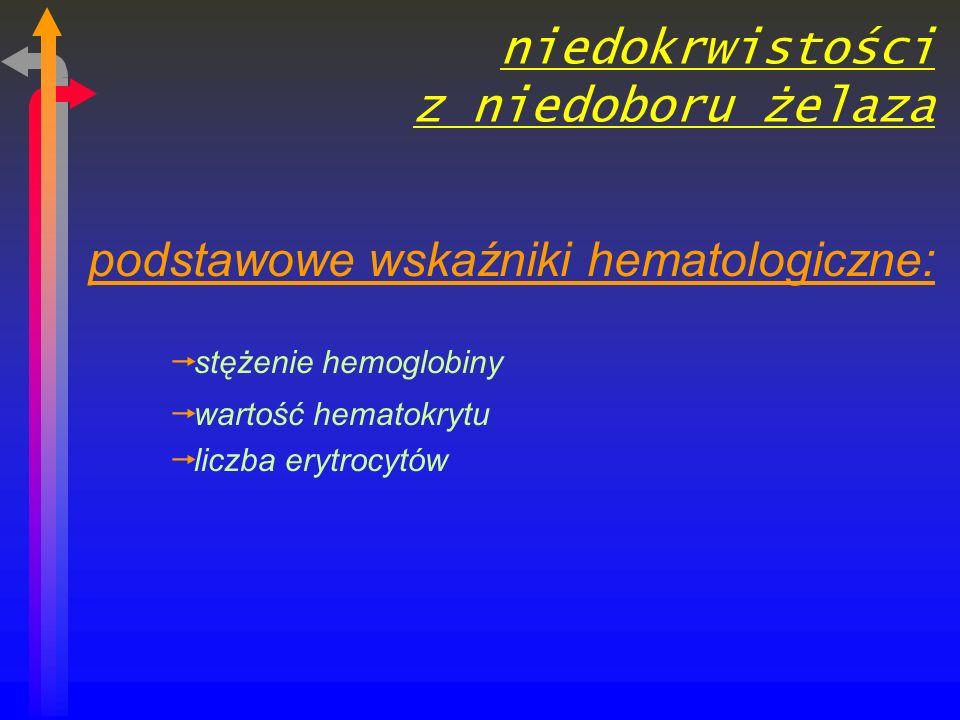 niedokrwistości z niedoboru żelaza podstawowe wskaźniki hematologiczne: stężenie hemoglobiny wartość hematokrytu liczba erytrocytów