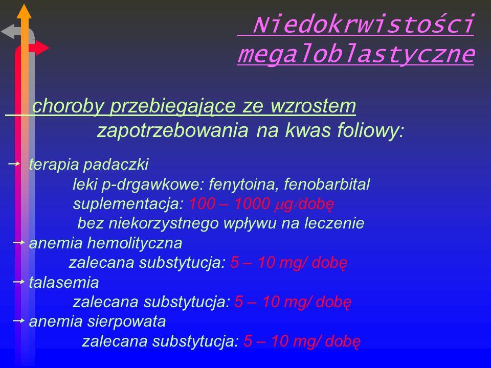 Niedokrwistości megaloblastyczne choroby przebiegające ze wzrostem zapotrzebowania na kwas foliowy : terapia padaczki leki p-drgawkowe: fenytoina, fenobarbital suplementacja: 100 – 1000 g dobę bez niekorzystnego wpływu na leczenie anemia hemolityczna zalecana substytucja: 5 – 10 mg/ dobę talasemia zalecana substytucja: 5 – 10 mg/ dobę anemia sierpowata zalecana substytucja: 5 – 10 mg/ dobę