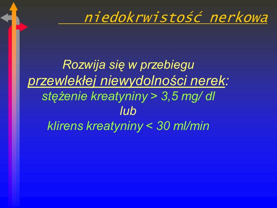 niedokrwistość nerkowa Rozwija się w przebiegu przewlekłej niewydolności nerek: stężenie kreatyniny > 3,5 mg/ dl lub klirens kreatyniny < 30 ml/min