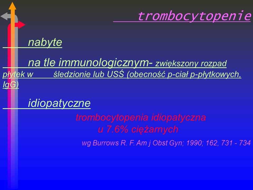 trombocytopenie nabyte na tle immunologicznym- zwiększony rozpad płytek w śledzionie lub USŚ (obecność p-ciał p-płytkowych, IgG) idiopatyczne trombocytopenia idiopatyczna u 7.6% ciężarnych wg Burrows R.