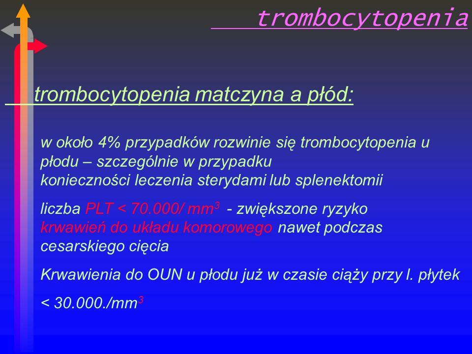 trombocytopenia trombocytopenia matczyna a płód: w około 4% przypadków rozwinie się trombocytopenia u płodu – szczególnie w przypadku konieczności leczenia sterydami lub splenektomii liczba PLT < 70.000/ mm 3 - zwiększone ryzyko krwawień do układu komorowego nawet podczas cesarskiego cięcia Krwawienia do OUN u płodu już w czasie ciąży przy l.
