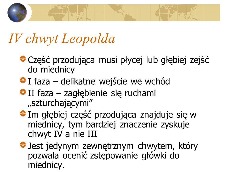 IV chwyt Leopolda Część przodująca musi płycej lub głębiej zejść do miednicy I faza – delikatne wejście we wchód II faza – zagłębienie się ruchami szt