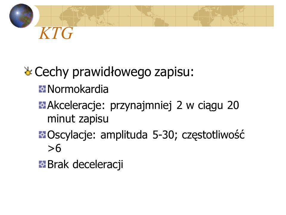KTG Cechy prawidłowego zapisu: Normokardia Akceleracje: przynajmniej 2 w ciągu 20 minut zapisu Oscylacje: amplituda 5-30; częstotliwość >6 Brak decele