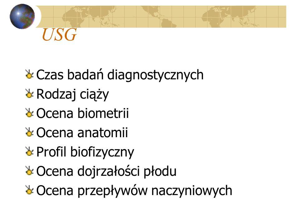 USG Czas badań diagnostycznych Rodzaj ciąży Ocena biometrii Ocena anatomii Profil biofizyczny Ocena dojrzałości płodu Ocena przepływów naczyniowych