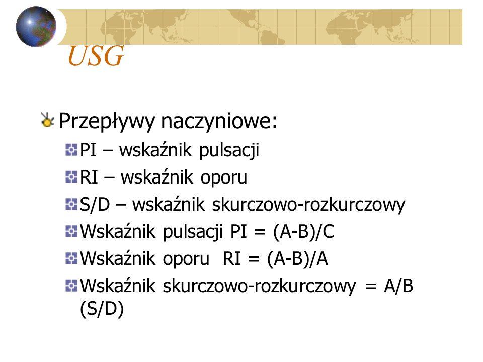 USG Przepływy naczyniowe: PI – wskaźnik pulsacji RI – wskaźnik oporu S/D – wskaźnik skurczowo-rozkurczowy Wskaźnik pulsacji PI = (A-B)/C Wskaźnik opor