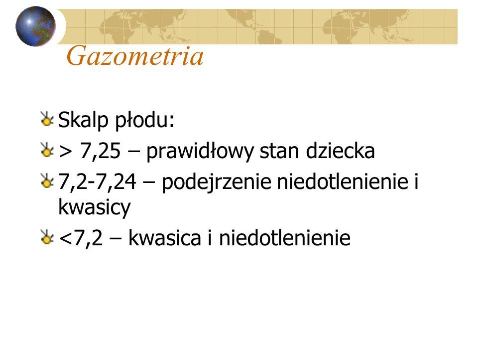 Gazometria Skalp płodu: > 7,25 – prawidłowy stan dziecka 7,2-7,24 – podejrzenie niedotlenienie i kwasicy <7,2 – kwasica i niedotlenienie
