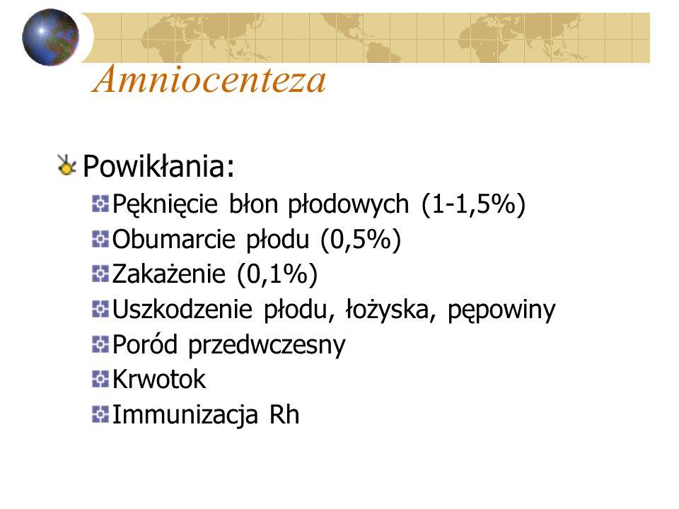 Amniocenteza Powikłania: Pęknięcie błon płodowych (1-1,5%) Obumarcie płodu (0,5%) Zakażenie (0,1%) Uszkodzenie płodu, łożyska, pępowiny Poród przedwcz